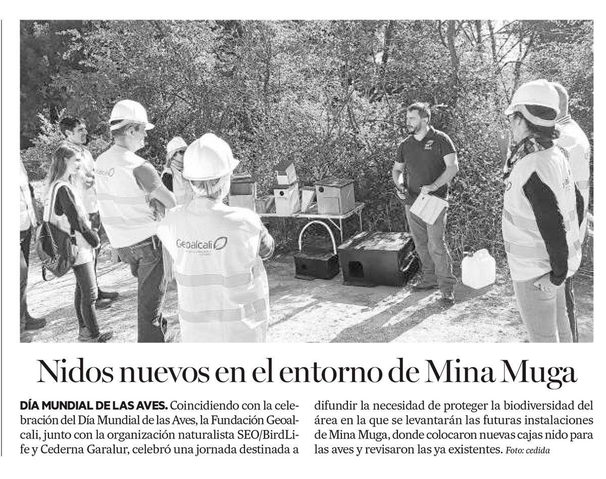 Nidos nuevos en entorno de Mina Muga